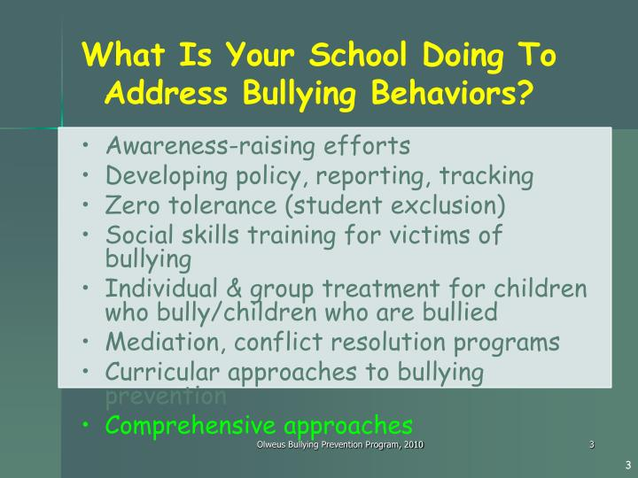 What Is Your School Doing To Address Bullying Behaviors?