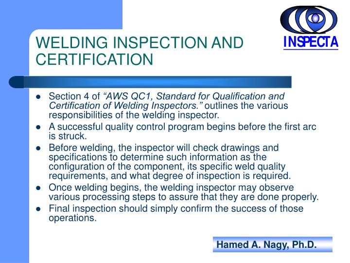 Welding inspection and certification1
