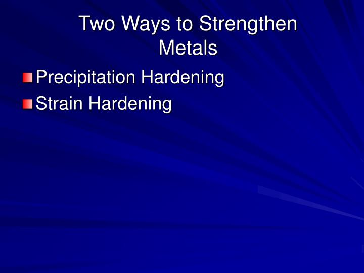 Two Ways to Strengthen Metals