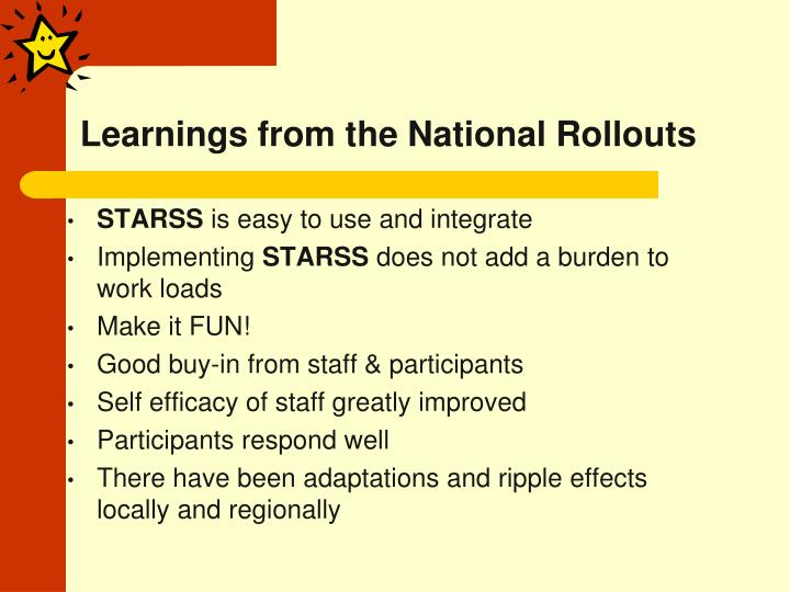 Learnings from the National Rollouts