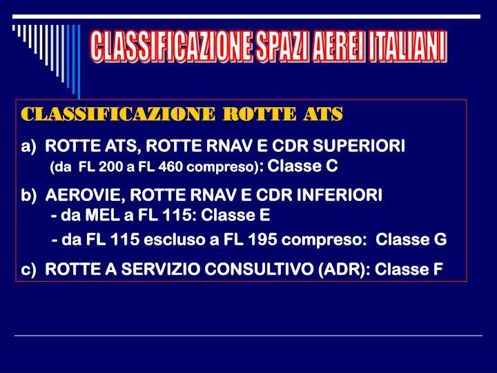 CLASSIFICAZIONE SPAZI AEREI ITALIANI