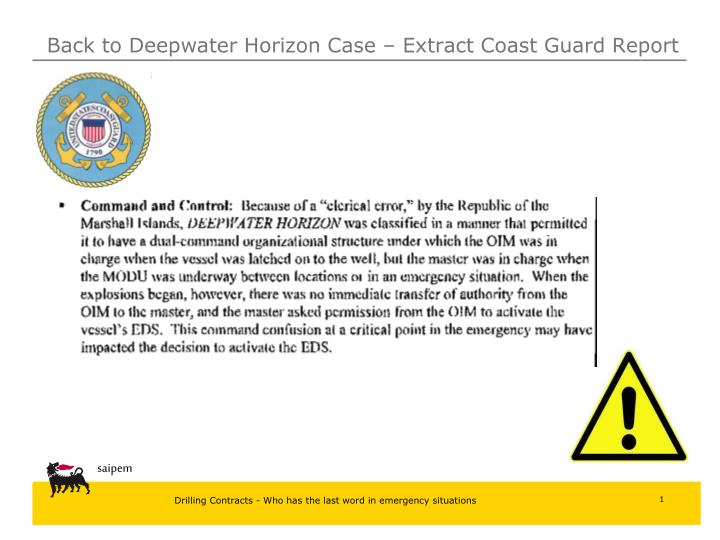 Back to Deepwater Horizon Case – Extract Coast Guard Report