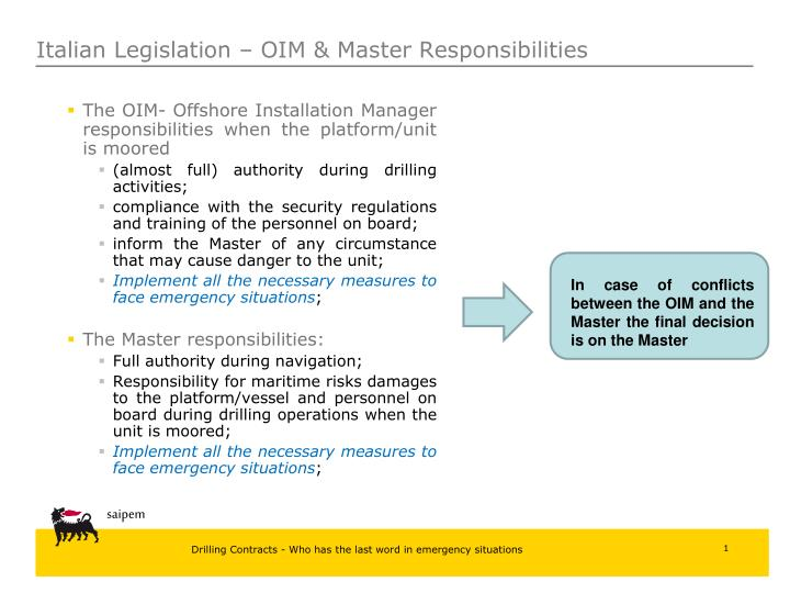 The OIM- Offshore Installation Manager responsibilities when the platform/unit is moored