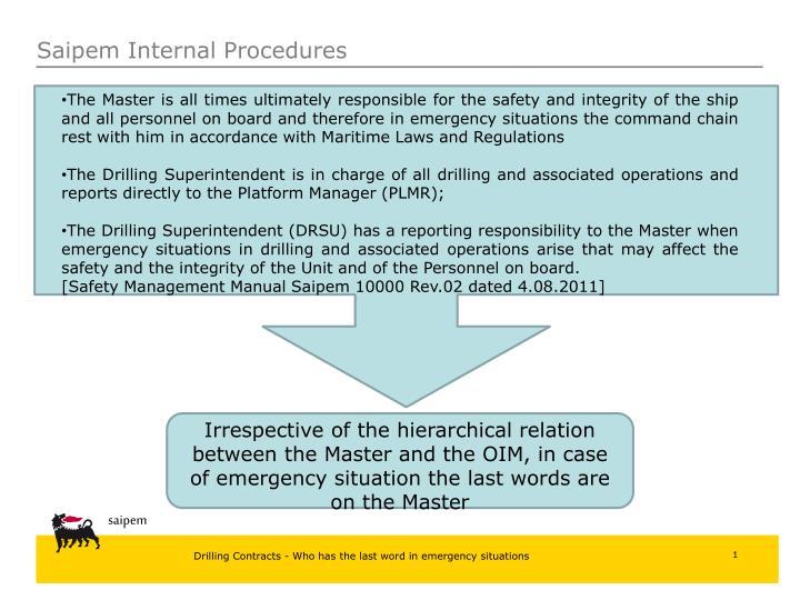 Saipem Internal Procedures