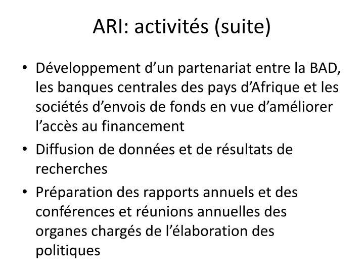 ARI: activités (suite)