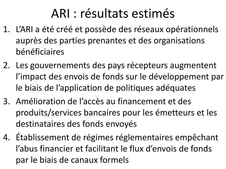ARI : résultats estimés