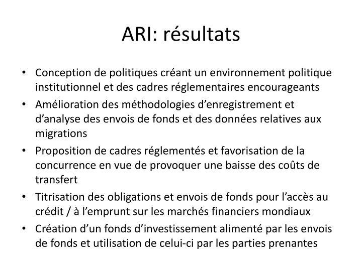 ARI: résultats