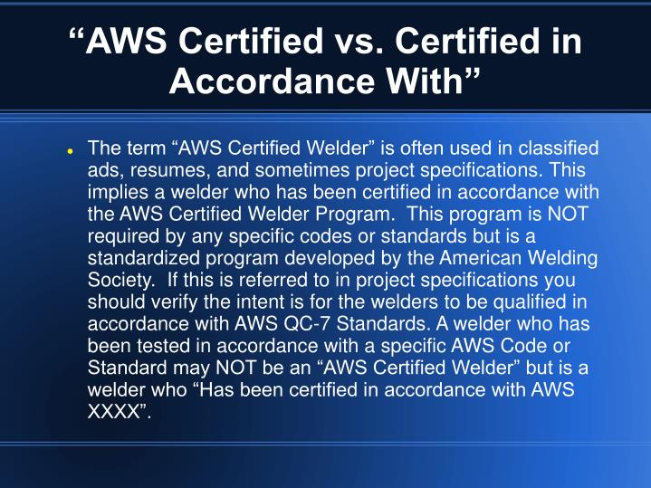 """AWS Certified vs. Certified in Accordance With"""