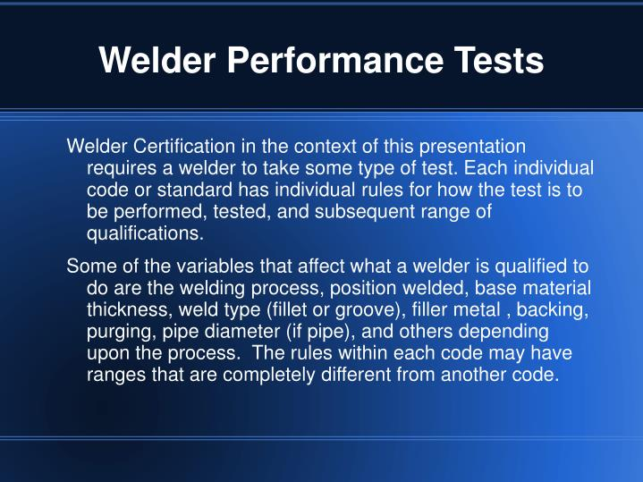 Welder Performance Tests