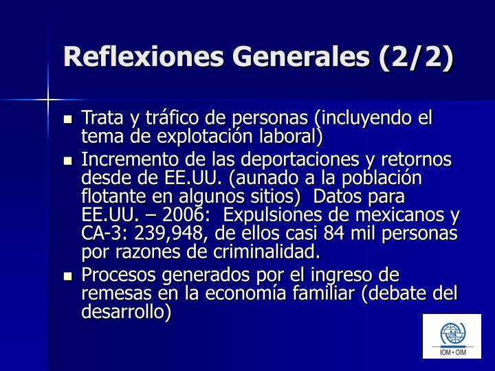 Reflexiones Generales (2/2)