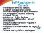 self regulation in canada