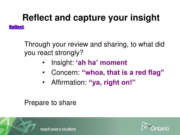 Reflect and capture your insight