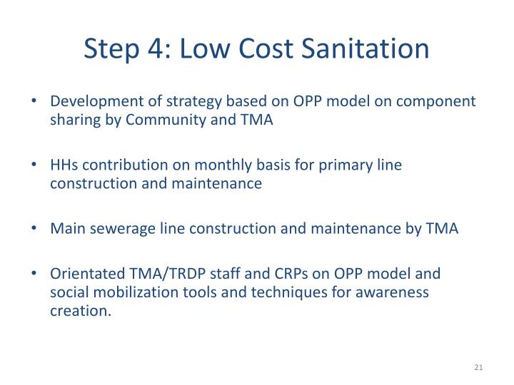 Step 4: Low Cost Sanitation