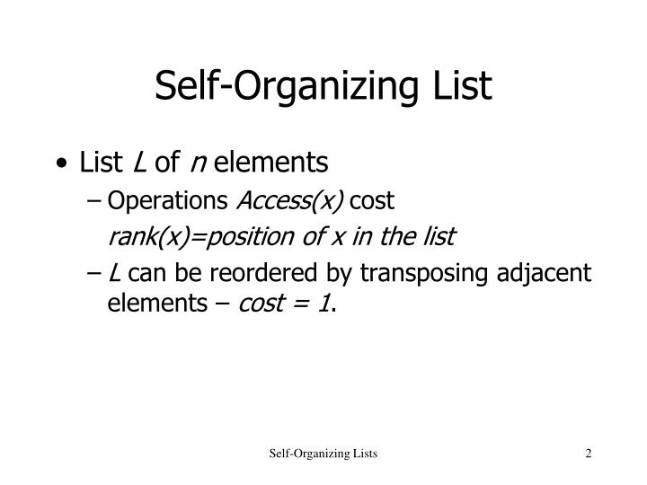 Self organizing list