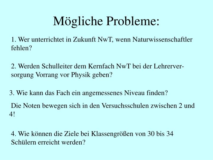 Mögliche Probleme: