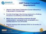 obpp trainer consultant requirements