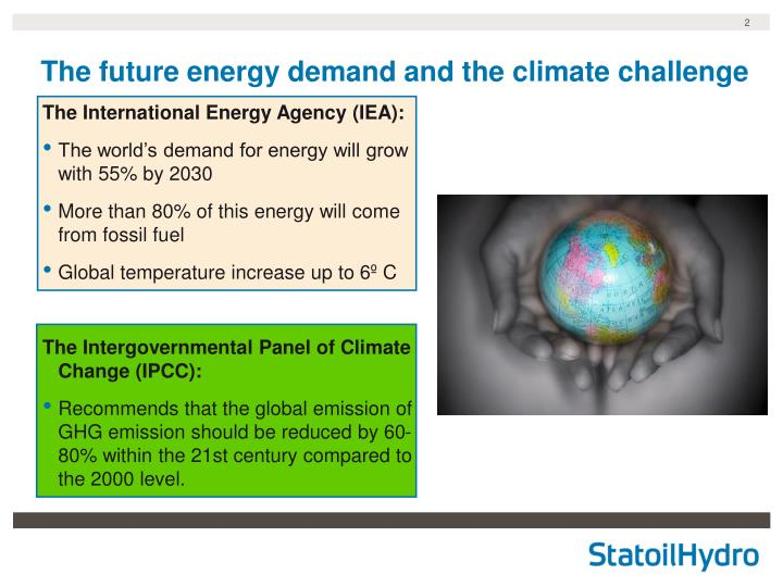 The future energy demand and the climate challenge