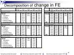 decomposition of change in fe