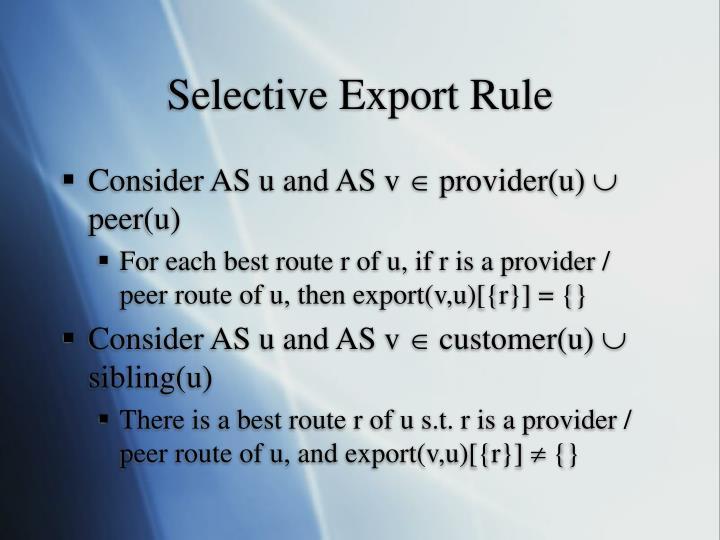Selective Export Rule