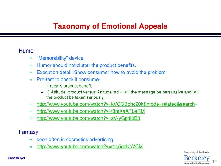 Taxonomy of Emotional Appeals