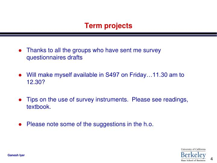 Term projects