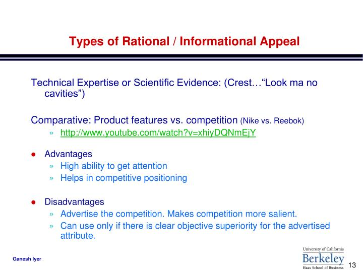 Types of Rational / Informational Appeal