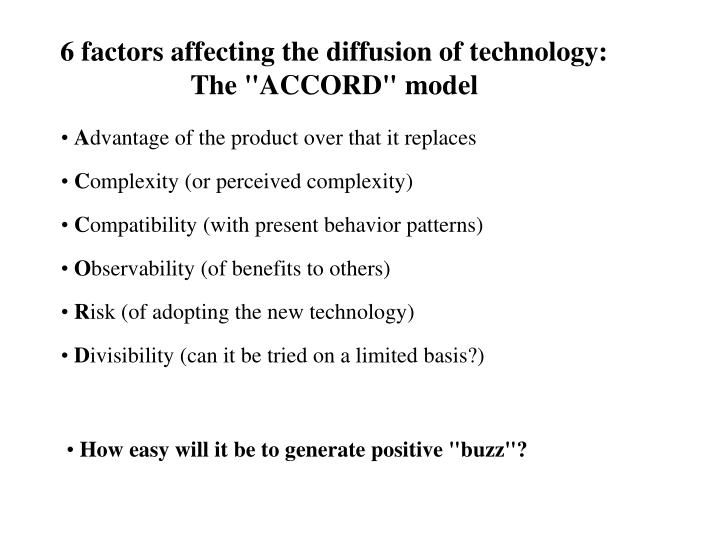 6 factors affecting the diffusion of technology: