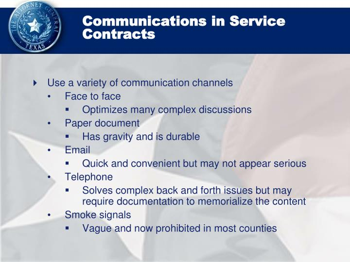 Communications in Service Contracts
