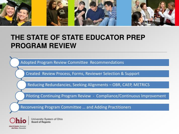 THE STATE OF STATE EDUCATOR PREP PROGRAM REVIEW