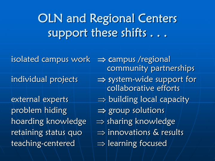 Oln and regional centers support these shifts