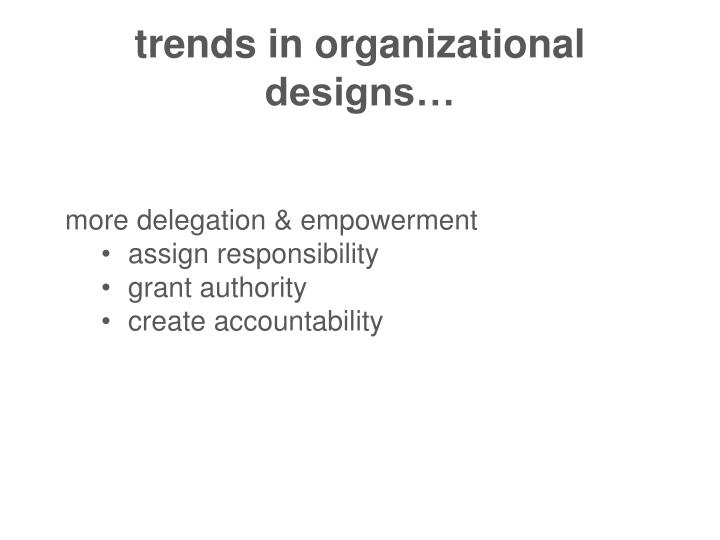 trends in organizational designs…