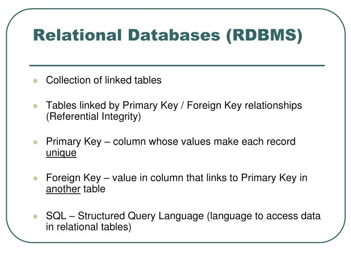 Relational databases rdbms