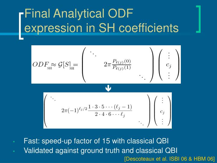 Final Analytical ODF expression in SH coefficients