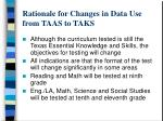 rationale for changes in data use from taas to taks