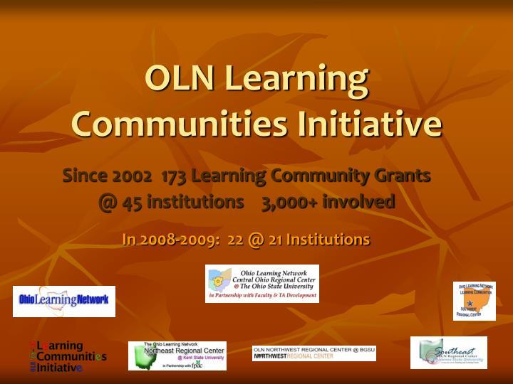 oln learning communities initiative n.
