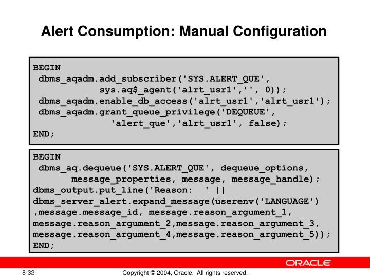 Alert Consumption: Manual Configuration