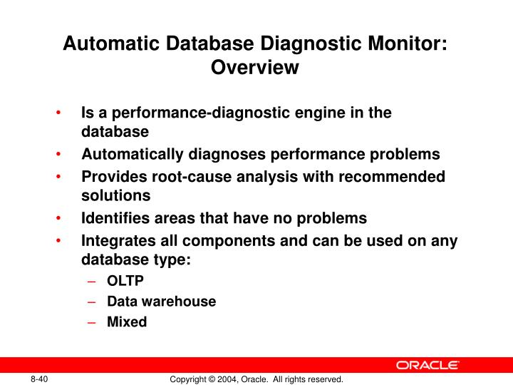 Automatic Database Diagnostic Monitor: Overview