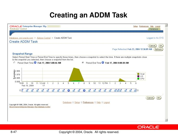 Creating an ADDM Task