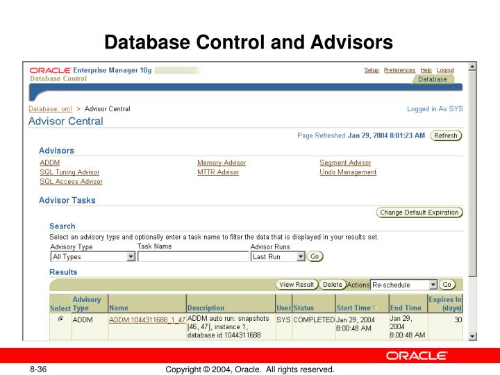 Database Control and Advisors