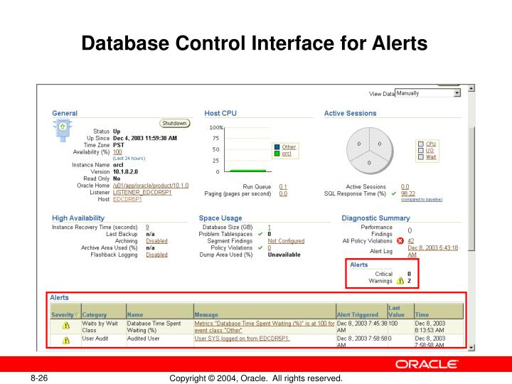 Database Control Interface for Alerts