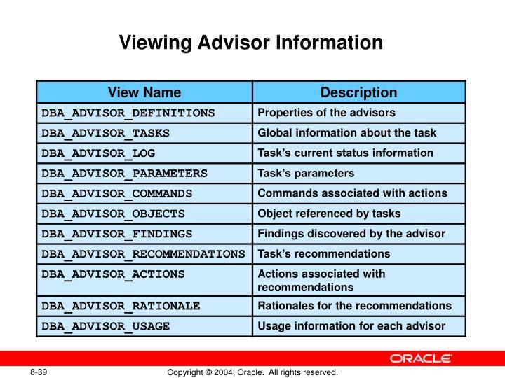 Viewing Advisor Information