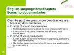 english language broadcasters licensing documentaries