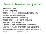 main conferences and journals