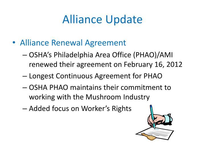 Alliance update