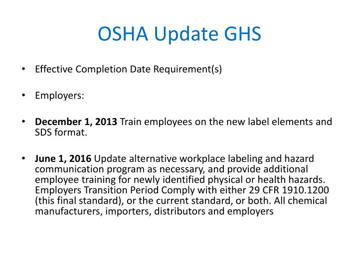 OSHA Update GHS