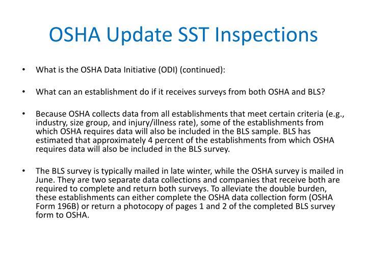 OSHA Update SST Inspections