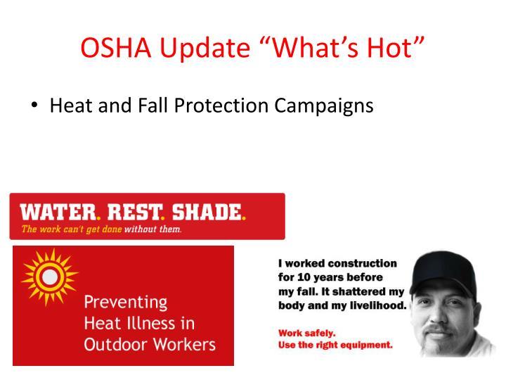 """OSHA Update """"What's Hot"""""""