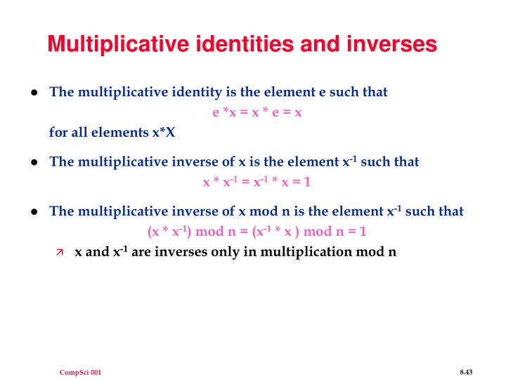 Multiplicative identities and inverses