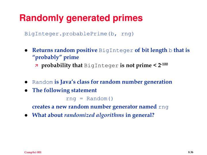 Randomly generated primes