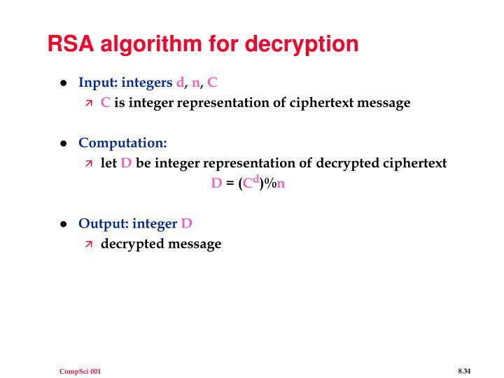 RSA algorithm for decryption
